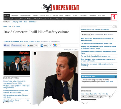David Cameron demonises safety cultures: Independent
